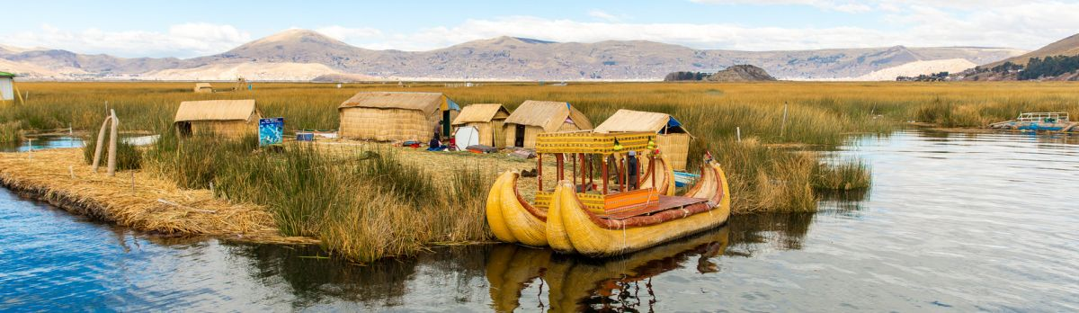 Floating Islands on Lake Titicaca Puno, Peru, South America