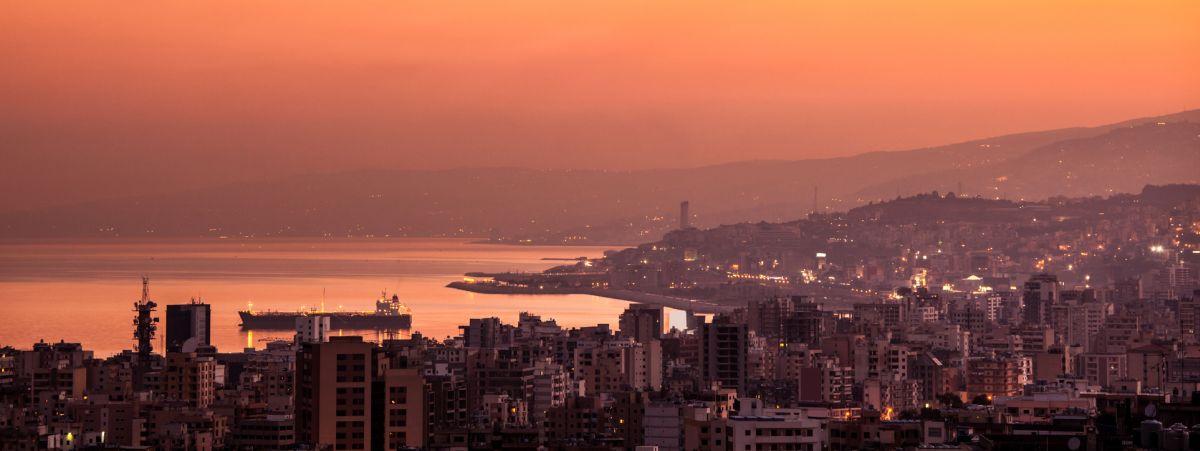 Sunset on mountain city